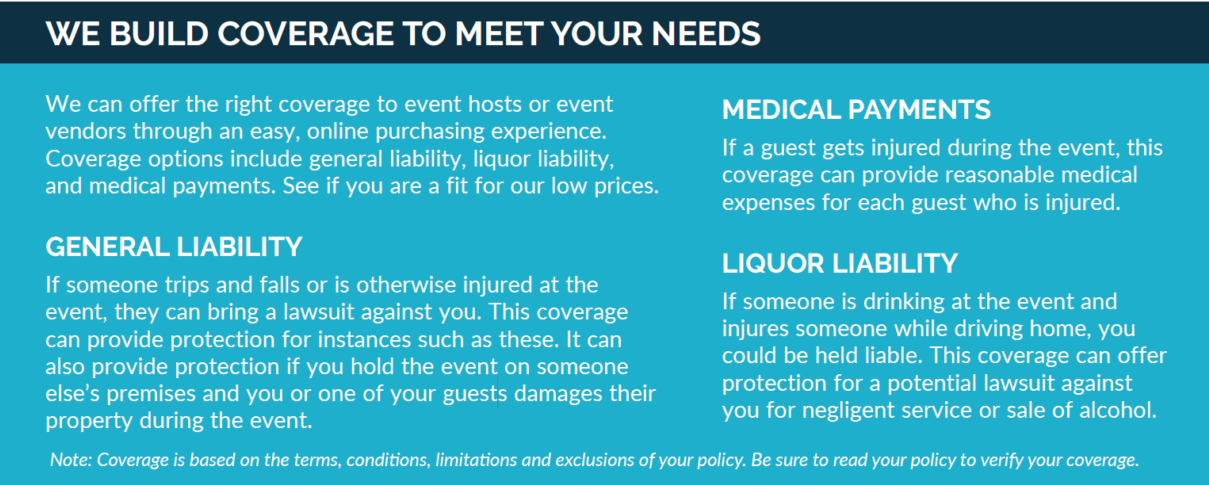 Coverage to Meet Your Special Event Needs: General Liability, Medical Payments; Liquor Liability